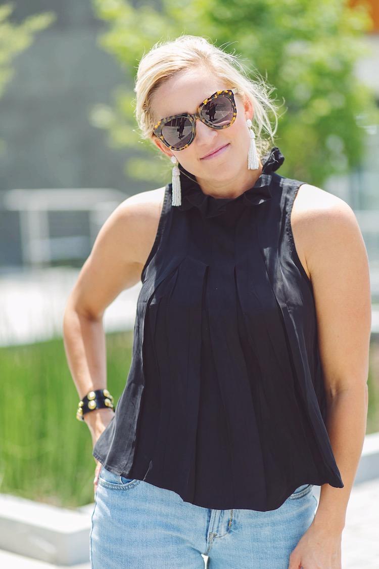 High collar black top